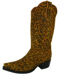 Women's Ladies Honey Brown Leather Leopard Spots Western Cowboy Boots Snip Toe