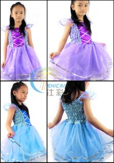 Kids Girls Princess Tutu Dress Party Skirt Costume Blue Pink Green Yellow 3 4Y