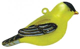 Blown Glass Goldfinch Bird Christmas Tree Ornament