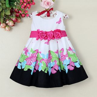 Baby Girl's Print Party Princess Wedding Costumes Flower Dress Age 1 5 Years