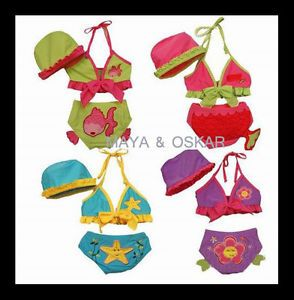 Baby Child Girls 3 Piece Bikini Hat Swimsuit Swimming Costume Wetsuit Sunsuit