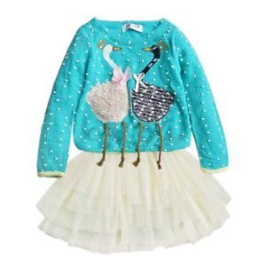 1pc Baby Girls Kids Toddler Swan Knit Party Top Dress Tutu Costume Outfit Sz 4T