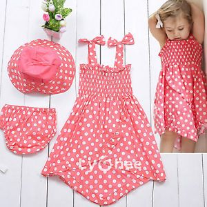 3pcs Kid Infant Baby Girl Polka Dress Pants Hat Set Outfit Costume Clothes 0 3Y