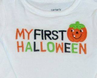 Carters My First Halloween Baby Boys Girls Long Sleeve Bodysuit Shirt Costume 3M