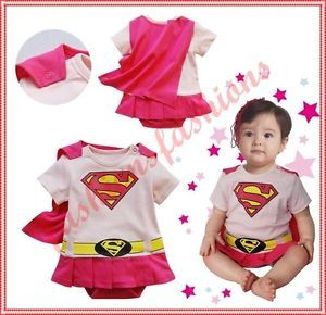 Cute Baby Toddler Girl Super Girl Costume Pink Outfits 3 15 Months