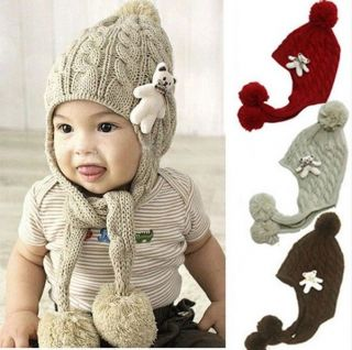 New Crochet Baby Toddler Girl Boy Winter Warm Knitted Hat Cap Earflaps 3 Colors