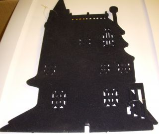 Black Flocked Silhouette Table Decor Haunted House Halloween