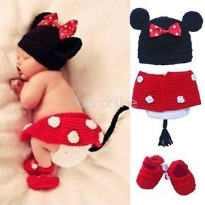 3pcs Newborn 6M Baby Girls Minnie Mouse Knit Crochet Costume Photo Prop Outfit