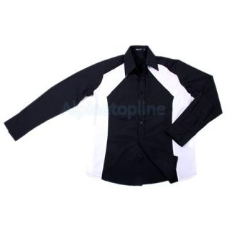 Fashion Style Mens Casual Slim Line Long Sleeve Shirt Black XL