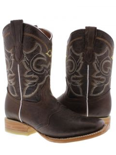 Women's Ladies Brown Leather Roper Square Cowboy Boot Western Rodeo Riding Biker