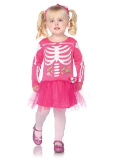 Toddler Girls Candy Skeleton Pink Dress and Headband Kids Halloween Costume New