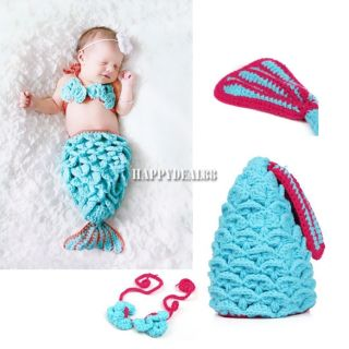 Newborn Baby Girl Boy Crochet Knit Hat Cap Costume Photography Prop Outfit HD23L