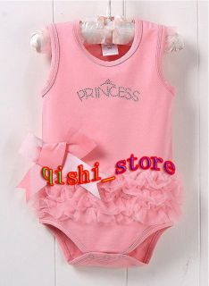 Sleeveless Kid Baby Girl Princess Dress Short Top Suit Costume Cloth 0 18M