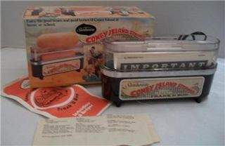 Vtg Electric Coney Island Steamer Hot Dog Cooker New in Box w Paperwork