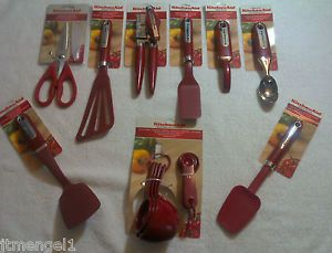 KitchenAid Red 10 Piece Cooking Utensil Set New