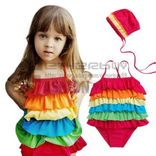 Girl Rainbow Ruffle Layer Swimsuit Costume Tankini Swimsuit 2 7 Years Bathing