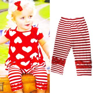 Kids Baby Girls Red Hearts Striped 2 Pcs Top Pants Outfits Costume Clothes 0 3Y