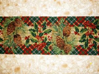 "Christmas 13""x 68"" Tapestry Table Runner Poinsettia Holly Pinecone Green Red New"