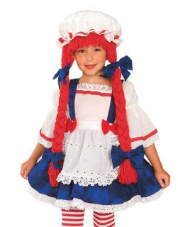 Fairytale Girls Rag Doll Raggedy Ann Young Child Halloween Costume Set Toddler M