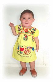 Puebla Dress Mexico Baby Toddler Infant Child Costume Precious 4 Colors Size 0