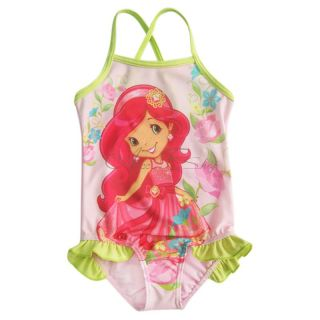 Girl Kid Strawberry One Piece Swimsuit Swimwear Bathing Suit Swim Costume Sz 3 8