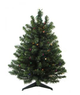 3' Pre Lit LED Natural Two Tone Pine Artificial Christmas Tree Multi Lights