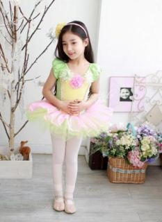 Girls Leotard Ballet Tutu Dancewear Party Dress 3 8Y Kids Flowers Skirt Costume