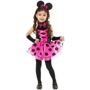 Little Miss Mouse Costume Toddler Pink Polka Dot Minnie Halloween Fancy Dress