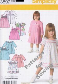 Pattern Sewing Simplicity Girl Baby Toddler Size ½ 4 New Dress Coat Jumper