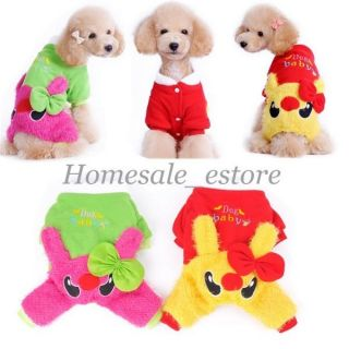Winter Warm Pet Dog Baby Puppy Fleece Jumpsuit Clothes Coat Apparel Costume Cute