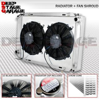 Tri Core 3 Row Cooling Radiator Fan Shroud Black 79 93 Ford Mustang V8 V6 LX GT