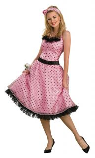 Pink Polka Dot Prom Dress Adult Womens Costume Halloween Sexy Theme Party