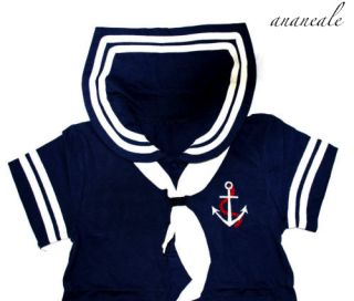 Cute Baby Boy Sailor Suit Fancy Dress Costume Navy 6 12 12 18 18 24 M Halloween