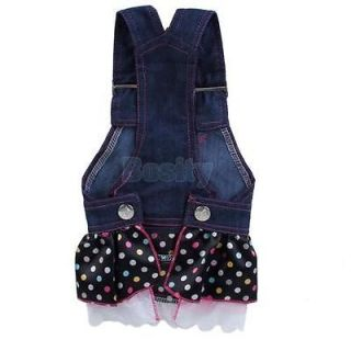 Pet Dog Apparel Clothes Costume Dress Denim Skirt Sz XS
