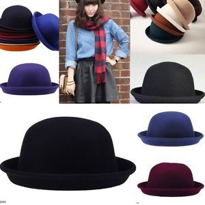 Wool Parent Child Vintage Women Men Cloche Bowler Hats Derby Cap Costume Party