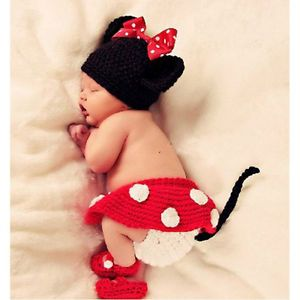 Newborn 12M Baby Girl Boy Crochet Knit Cute Minnie Costume Photo Props Outfits A