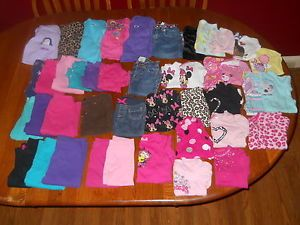 Lot of 44 Baby Girl Toddler Clothes 12 18 MO Pants Shirts Jackets Pajamas Jeans
