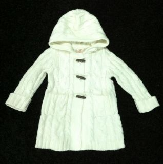 Old Navy Baby Infant Toddler Girl White Knitted Sweater Pea Coat Jacket 12 18 M