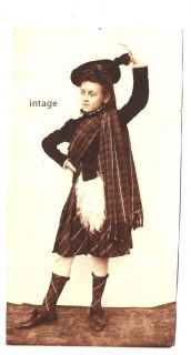 Scottish Girl Scotland Tartan Skirt Plaid Socks Hat Celtic Kilt Old Photograph