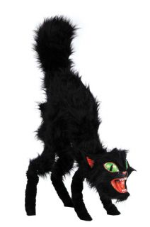 Black Cat Giant Prop Realistic Scary Haunted House Creepy Door Decor Halloween