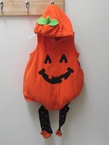 Carters Halloween Pumpkin Costume 12 Months w Tights Boy Girl Infant Toddler