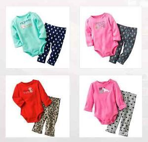 Carters Baby Girl Clothes 2 Piece Set Blue Pink Red 3 6 9 12 18 24 Months