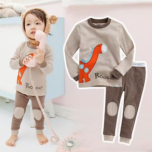 "Vaenait Baby Toddler Kids Boy Girl Clothes Sleepwear Pajama Set ""Brown Dino"""