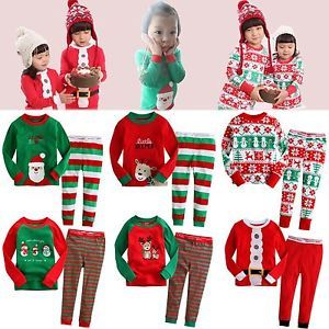 "Baby Toddler Kid Girl Boy Clothes Santa Christmas Sleepwear Set""Merry x Mas"""