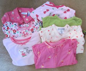 Lot 11 Pieces Baby Girl's Clothing Size 18 Months Mostly Carter's PJs Dress