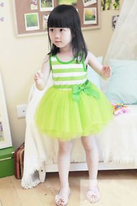 Green Toddler Baby Girls Sundress Kids Tutu Dress Skirt Clothes 7 8Year NL10