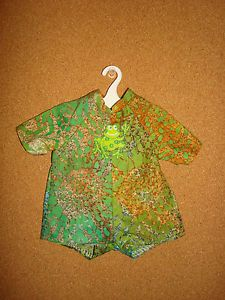 "Handmade Doll Clothes for 12"" 14"" Baby Dolls Boys Green Frog Short Romper"