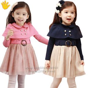 Cute Baby Girls Clothing Kids Cappa Princess Dresses Tutu Skirts Size 2 7 Years