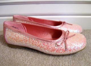 New Girls Spring Summer Ballet Flats Shoes 5 Youth Sequin Pink Glitter