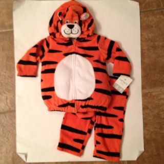 Baby Boy Girl Infant Orange Black White Tiger Halloween Costume 6 9 Months 2 PC